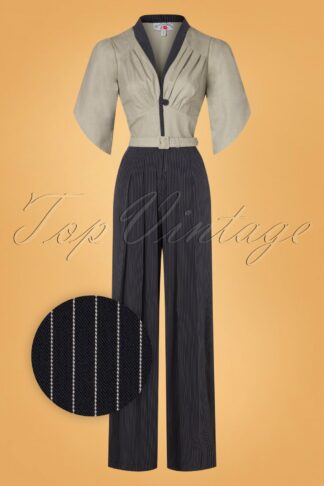 50s Ariadne Striped Jumpsuit in Navy and Greige