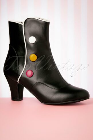 50s Ava Smartie Ankle Booties in Black