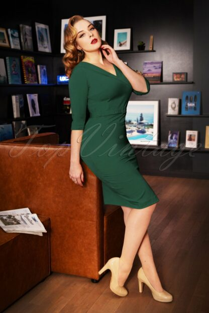 50s Aviva Pencil Dress in Dark Green