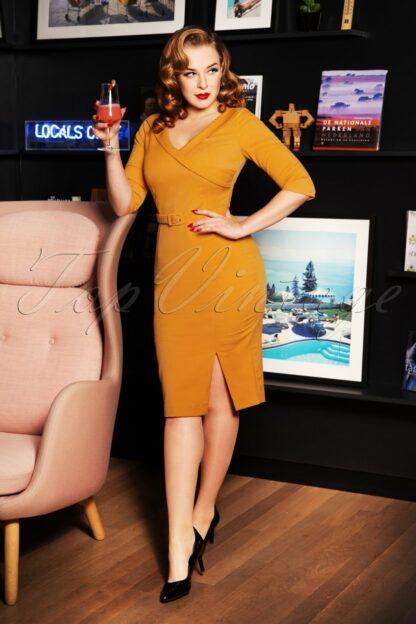 50s Aviva Pencil Dress in Honey Yellow