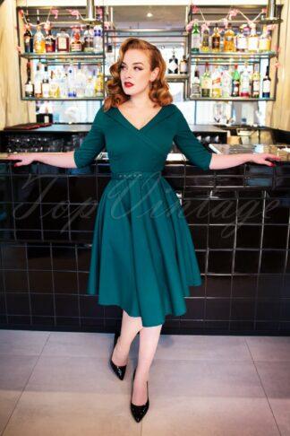 50s Aviva Swing Dress in Petrol Blue