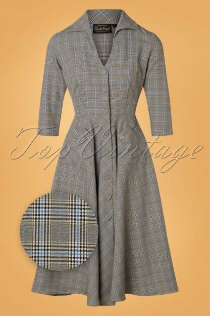50s Barbara Check Swing Dress in Grey