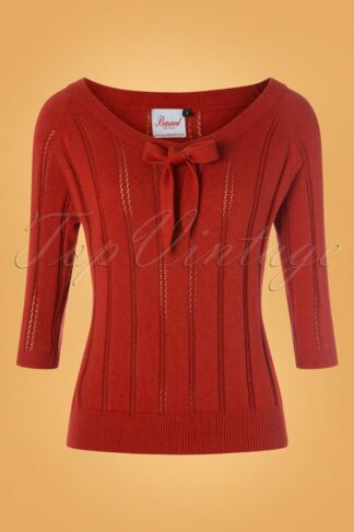 50s Belle Bow Pointelle Top in Rust
