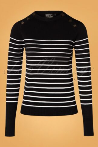 50s Bethsy Black Sea Striped Top in Black
