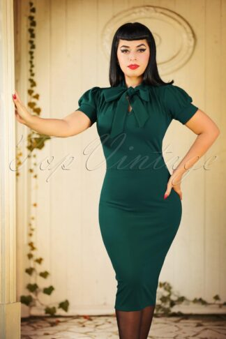 50s Bonnie Tie Neck Pencil Dress in Forest Green