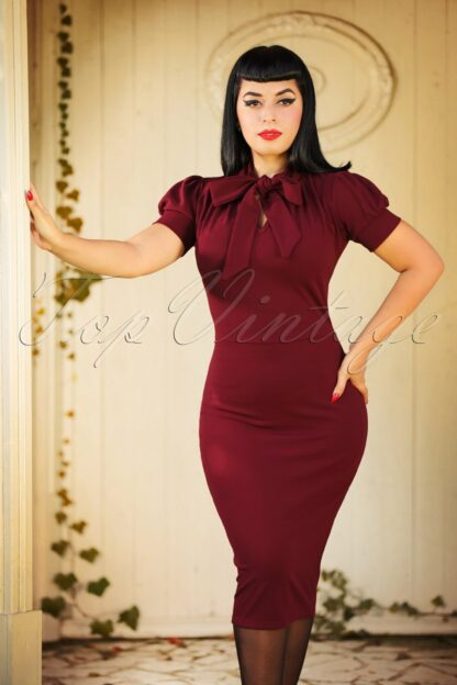 50s Bonnie Tie Neck Pencil Dress in Wine