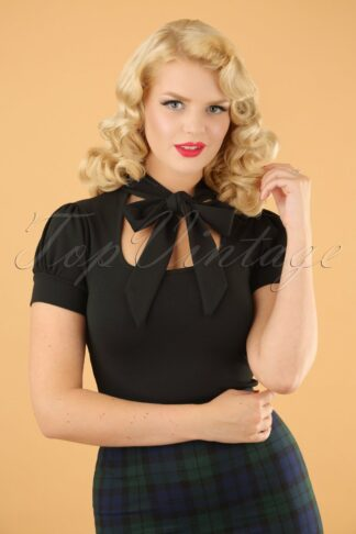50s Bonnie Tie Neck Top in Black