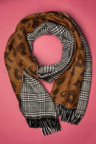 50s Briar Scarf in Leopard and Houndstooth