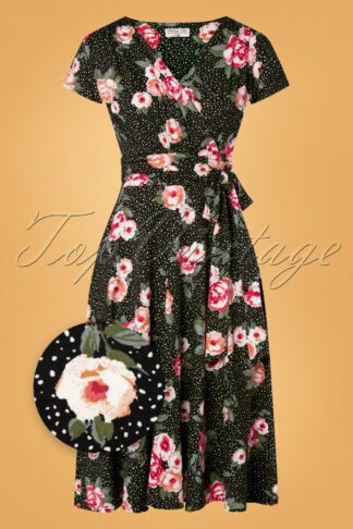 50s Caryl Floral and Dots Swing Dress in Black