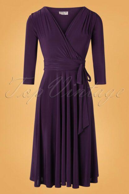 50s Cassandra Midi Dress in Aubergine