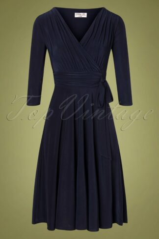 50s Cassandra Midi Dress in Navy