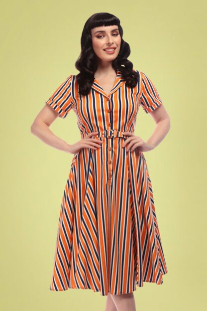 50s Caterina Bay Stripe Swing Dress in Orange and Blue