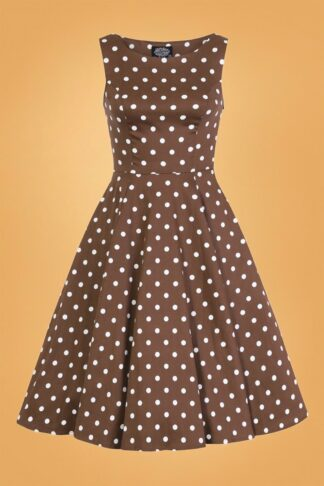 50s Cindy Polkadot Swing Dress in Chocolate Brown