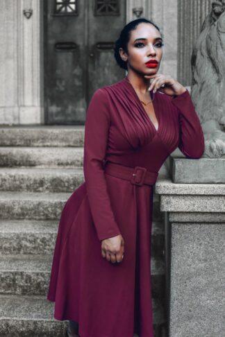 50s Claudia Swing Dress in Berry Purple