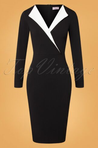 50s Clayre Pencil Dress in Black and Ivory