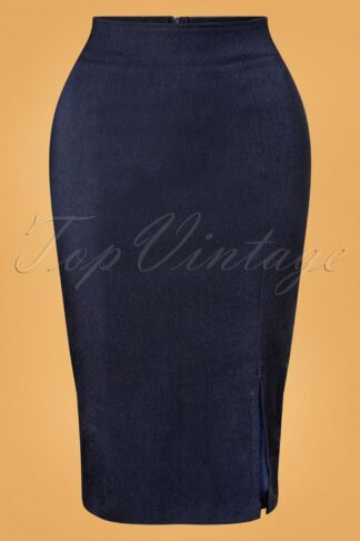 50s Cora Pencil Skirt in Denim Blue