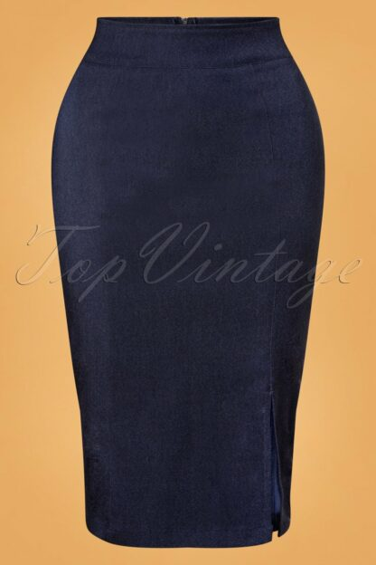 50s Cora Pencil Skirt in Denim Blue