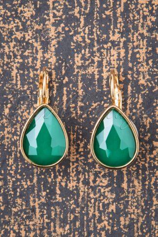 50s Darlene Diamond Drop Earrings in Sea Green