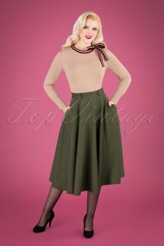 50s Di Di Swing Skirt in Olive Green