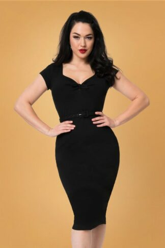 50s Dianne Sweetheart Wiggle Dress in Black