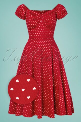 50s Dolores Love Hearts Doll Swing Dress in Red