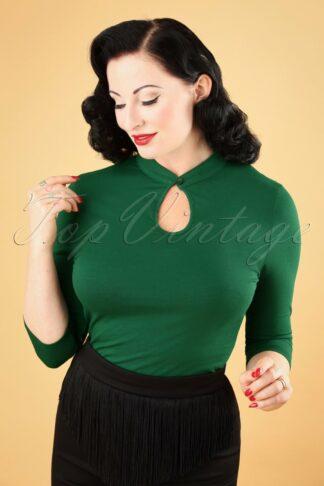 50s Emily Peek a Boo Top in Green