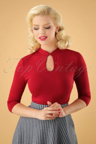 50s Emily Peek a Boo Top in Red