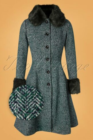50s Erin Herringbone Coat in Green