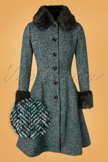 50s Erin Herringbone Coat in Green