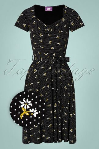 50s Fabienne Little Flowers Swing Dress in Black