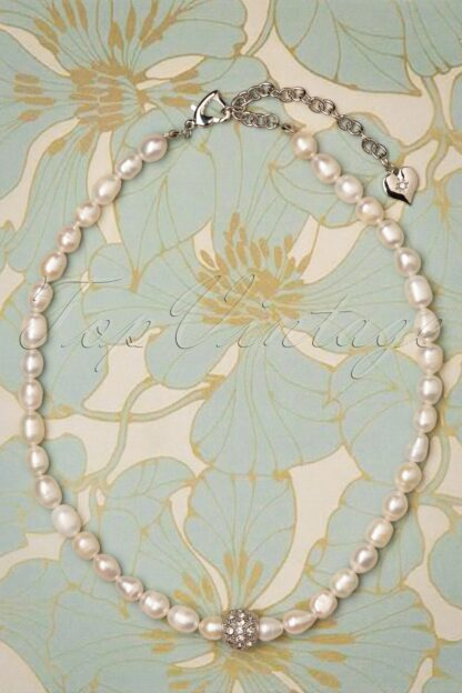 50s Fresh Water Pearl Necklace in Silver