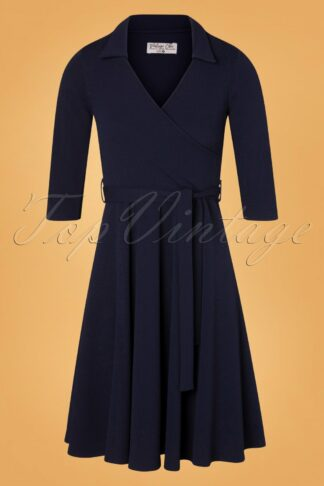 50s Gloria Wrap Dress in Navy