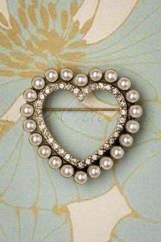 50s Heart Pearl Brooch in Gold