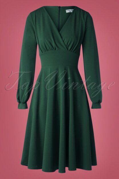 50s Helaine Swing Dress in Forest Green