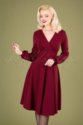 50s Helaine Swing Dress in Wine Red