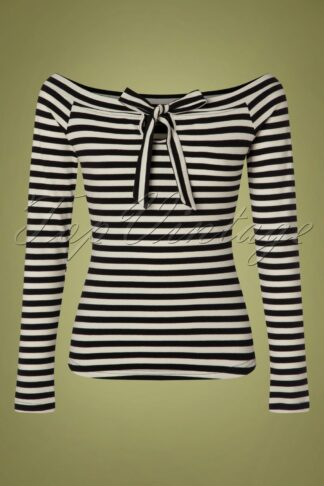50s Houdini Striped Cosy Boatneck Top in Black and White