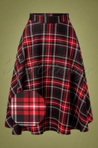 50s Islay Tartan Swing Skirt in Black and Red