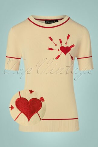 50s Jamie Arrow Through The Heart Pullover in Beige and Red
