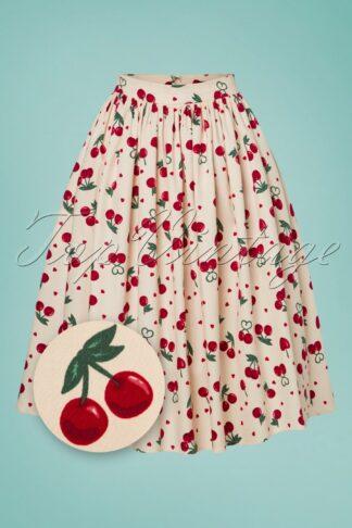 50s Jasmine Cherry Love Swing Skirt in Ivory