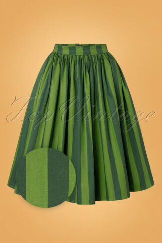 50s Jasmine Garden Stripe Swing Skirt in Green
