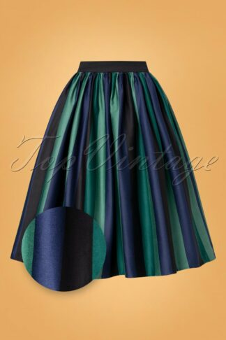 50s Jasmine Twilight Stripe Swing Skirt in Green