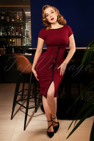 50s Joice Pencil Dress in Burgundy