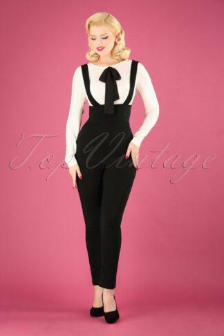 50s Karen Suspender Trousers in Black