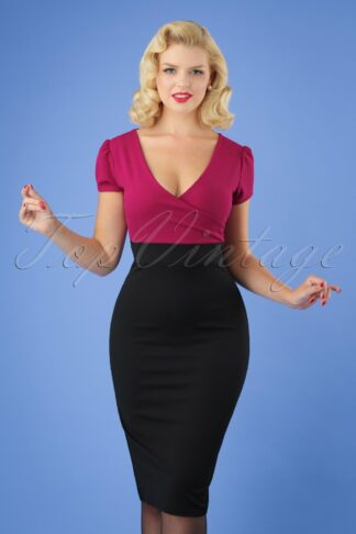 50s Kristy Pencil Dress in Black and Amaranth