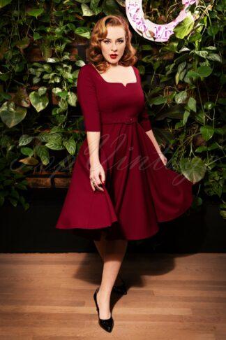 50s Kyra Swing Dress in Burgundy