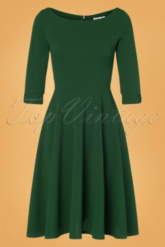 50s Lauriana Swing Dress in Forest Green