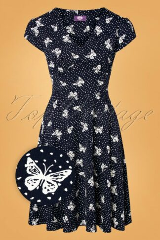 50s Leona Butterfly Swing Dress in Navy