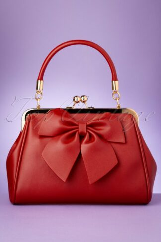 50s Lockwood Bow Handbag in Red