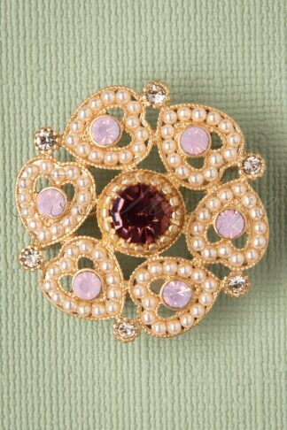 50s Loveheart Brooch in Gold and Pink