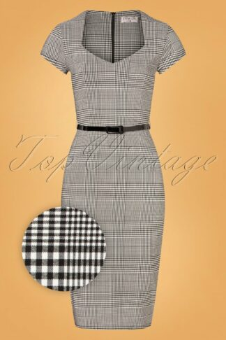 50s Melany Houndstooth Pencil Dress in Black and White